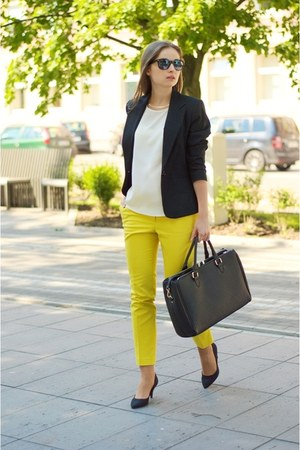 black F&F jacket - black Zara bag - black H&M heels - yellow H&M pants