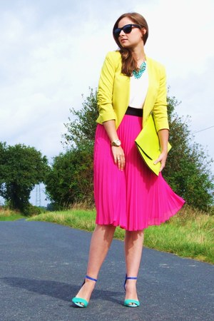 yellow H&M blazer - lime green allegro bag - hot pink H&M skirt