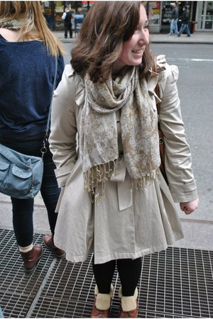 brown Topshop boots - beige Miss Selfridge coat - tan Accessorize scarf