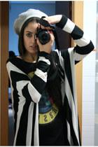 silver H&M hat - black H&M shirt - black H&M cardigan