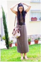green vintage dress - brown Primark belt - brown Zara shoes - brown Primark bag