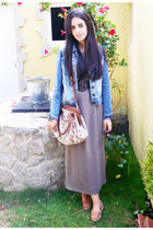green vintage dress - brown Primark belt - brown Primark bag - blue BLANCO jacke