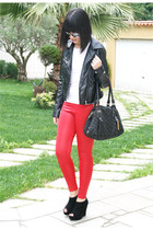 Bright red leggings
