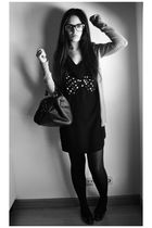 black Primark bag - black H&M dress - gray Sfera shoes - gray Stradivarius cardi