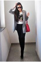 black vintage boots - black pull&bear jeans - silver vintage blazer - bubble gum