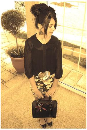 gray floral Primark skirt - gray ballerinas Sfera shoes - black Primark bag