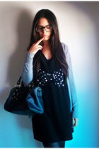 black H&M dress - black Primark bag - gray Stradivartius cardigan - black Claire