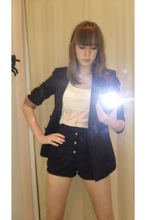 black Topshop blazer - black Topshop shorts - beige Topshop top