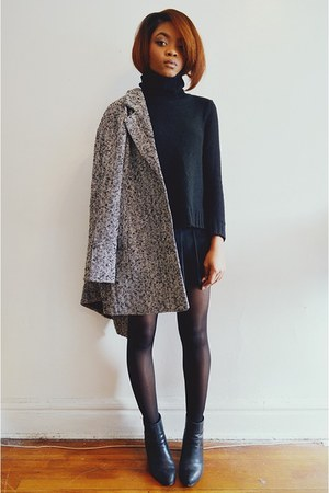 black turtleneck H&M sweater - black gabba ankle Aldo boots