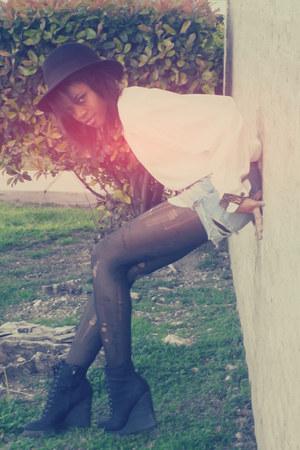 black diy ripped H&M stockings - black fedora H&M hat