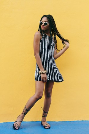 black striped Newdress dress - ivory Urban Outfitters sunglasses