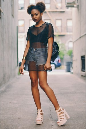 black vintage bag - periwinkle Gap shorts - black sheer cover up CNdirect top