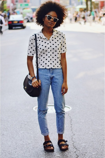 off white polka dot h&m divided top - light blue vintage thrifted jeans