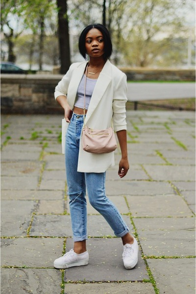 off white boyfriend BDG blazer - light blue high waist mom thrifted jeans