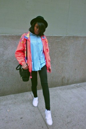 black H&amp;M hat - hot pink vintage jacket - black H&amp;M leggings