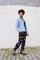 blue denim vintage calvin klein jacket - black Topshop shoes