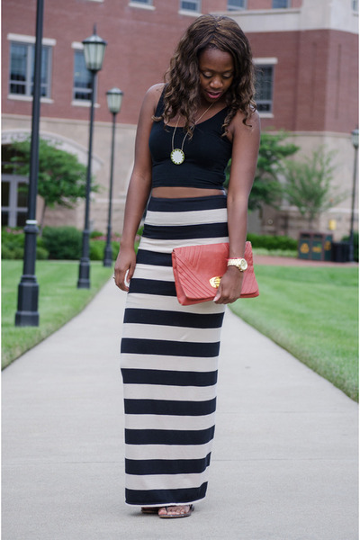 tan striped free people skirt - red clutch south moon under bag