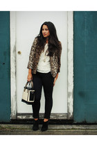 camel Plum coat - black Urban Outfitters boots - dark green Zara purse
