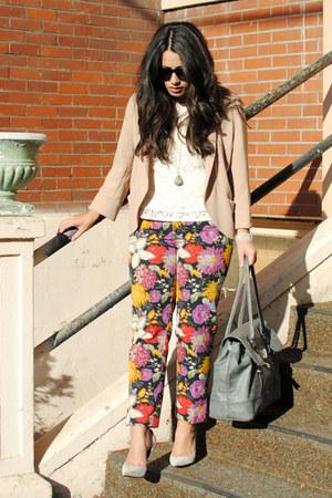 dark gray Anthropologie pants - peach Aritzia blazer