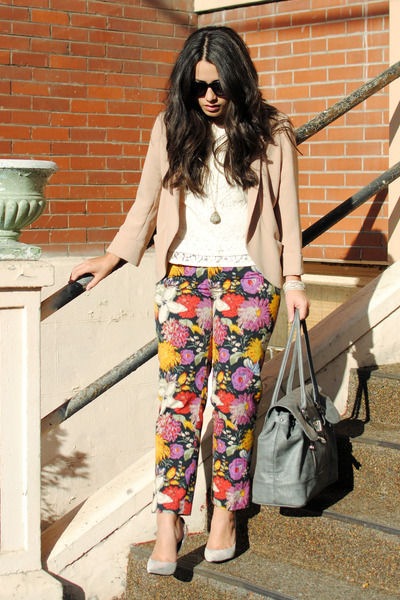 dark gray Anthropologie pants - peach Aritzia blazer