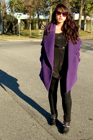 purple jacket - black Urban Outfitters blouse - black Mavi Serena leggings - bla