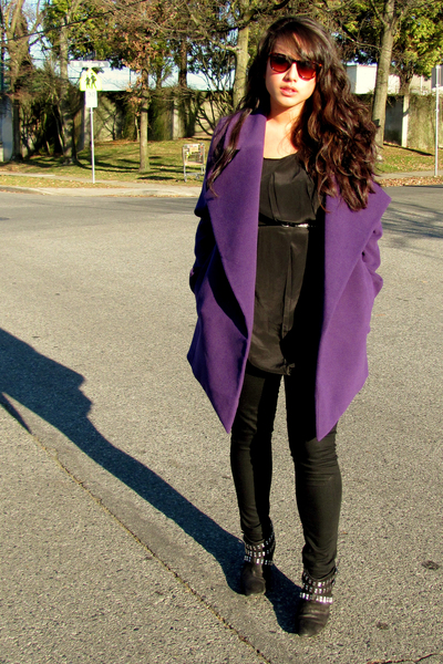 purple jacket - black Zara boots - black jean leggings Mavi Serena leggings