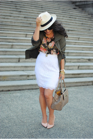 white Jacob skirt - tan H&M hat - light brown kate spade bag - peach Plum blouse