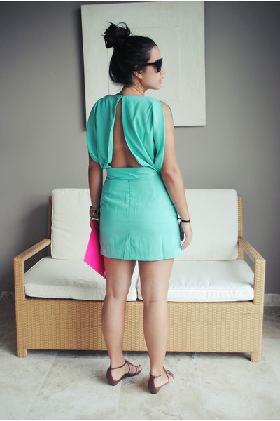 aquamarine artsy closet dress - hot pink Zara purse