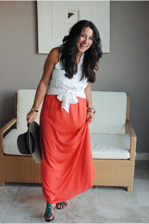 white vintage blouse - carrot orange modcloth skirt