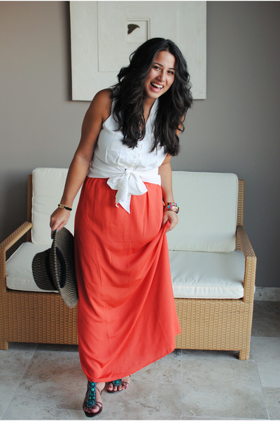 white vintage blouse - carrot orange modcloth skirt
