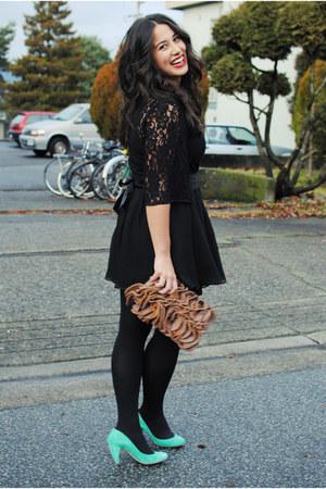 black Kersh dress - bronze Plum bag - black H&M skirt