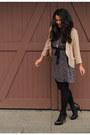 Black-stuart-weitzman-boots-magenta-plum-dress-nude-aritzia-blazer