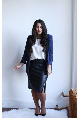 black Loft skirt - navy Target blazer - white Joe Fresh blouse