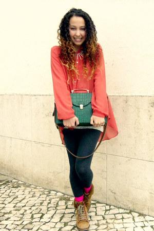 hot pink hot pink Primark socks - bronze faux fur Zara boots