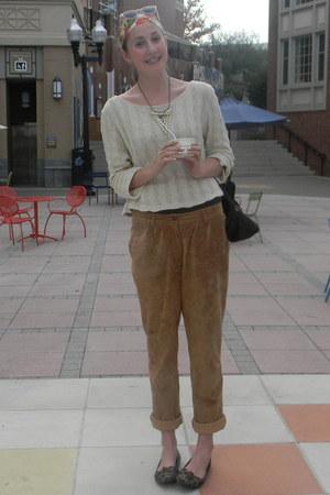 brown suede Apart pants - ivory brandy melville sweater - dark brown Gucci bag