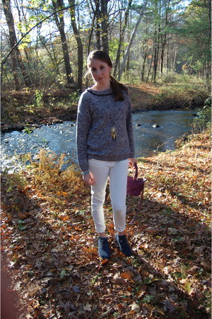 blue Mango sweater - blue TOMS boots - white Gap jeans