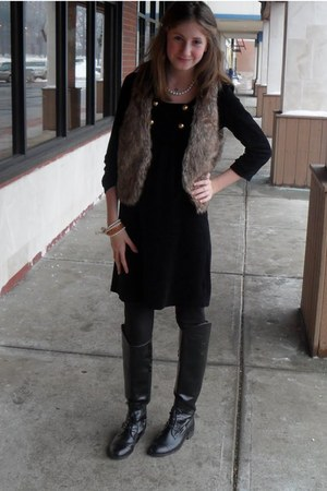 black Forever 21 boots - black velvet Juicy Couture dress - black H&M tights - p