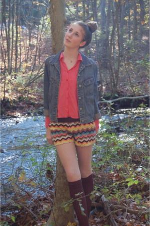 brown velvet Missoni for Targets shorts - brown Aldo shoes - navy espirit jacket