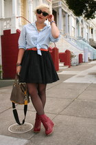 Jeffrey Campbell boots - H&M shirt - HUE tights - LAMB bag - Target belt