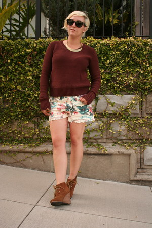 free people shorts - Steve Madden boots - Alexander Wang sweater
