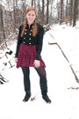 Black-forever-21-jacket-black-candies-boots-red-vintage-dress