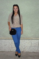 beige warehouse shirt - black Mexton purse - blue New Yorker pants