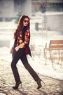 Black-saint-laurent-boots-red-retro-sunnies-zara-sunglasses