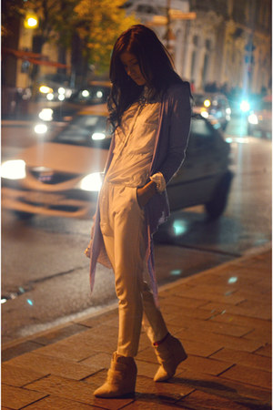 off white Zara blouse - light purple Stradivarius blazer - beige Zara pants