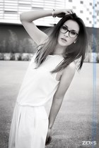 white overall Zara dress - vintage Chanel glasses