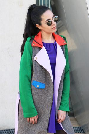 tan shein coat - deep purple Primark dress