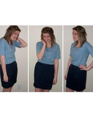 blue H&M top - blue thrifted skirt - black Forever 21 accessories