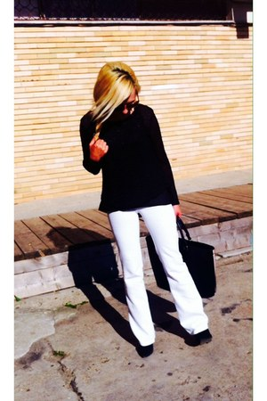 black Stradivarius bag - white flaring Bershka pants - black Stradivarius blouse