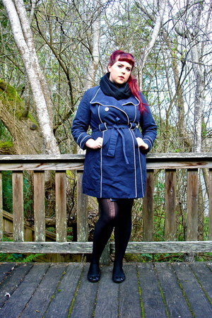 blue Forever 21 dress - navy white piping Target jacket - black tights - black s