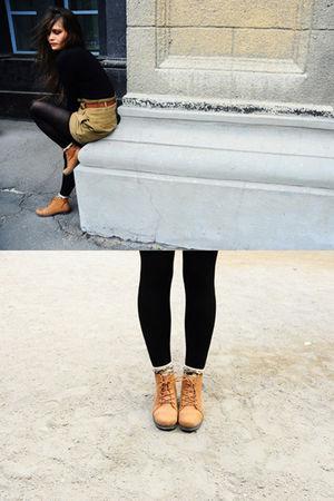 green Zara shorts - orange Topshop boots